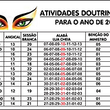 Calendário de Atividades Doutrinárias (2