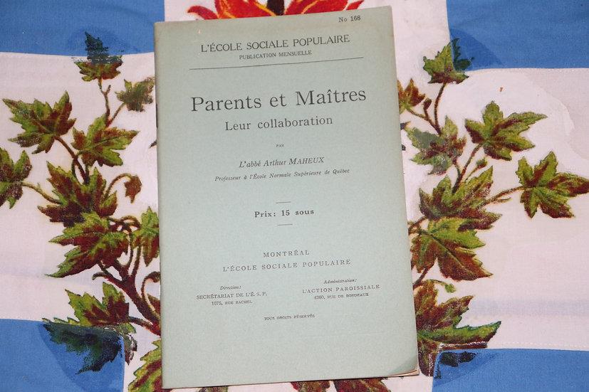 Parents et Maîtres - Leur collaboration