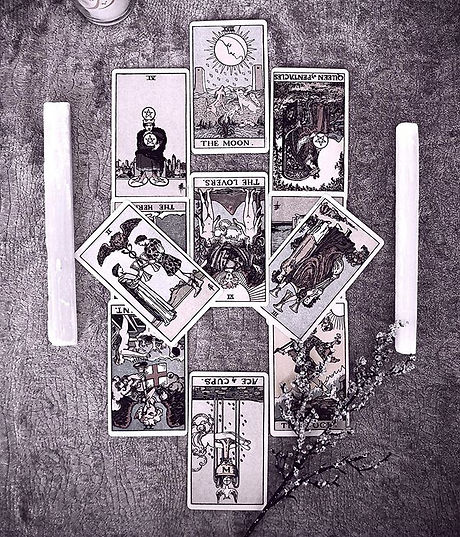 Tarot Card spread with 11 cards relating