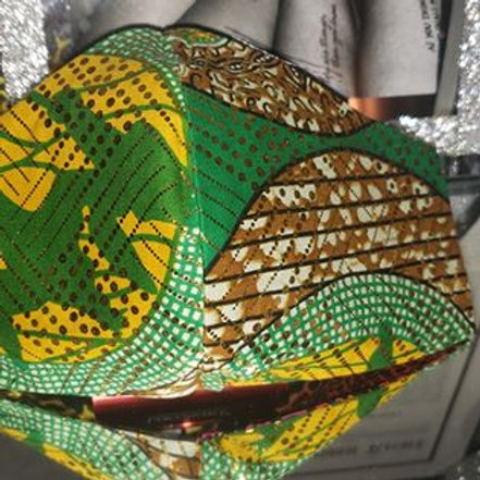 African Print - Green Gold Reversible