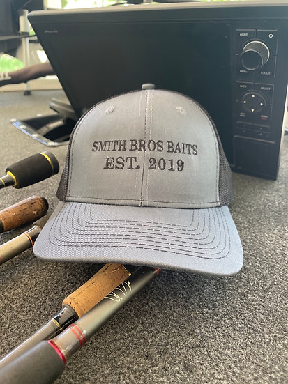 Smith Bros Baits Trucker Hat in Gray and Black Mesh, Black Embroidery