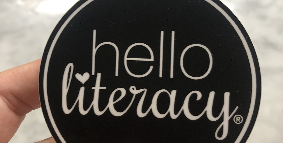 Round Hello Literacy Sticker