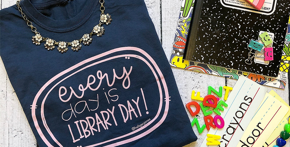 Navy Everyday is Library Day T-Shirt