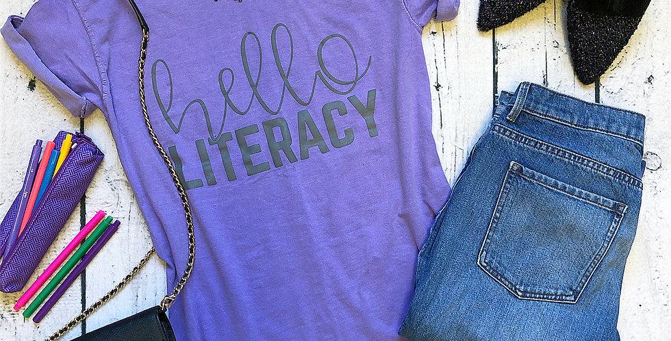 Hello Literacy Violet Tee