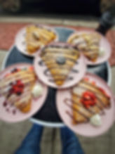 sweet crepe menu from two crepes catering in union city nj verry strawberry chocolate comma mont blanc banana montana marshmallowland in pink plates