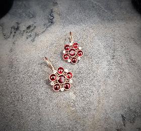 custom made garnet and diamond earrings