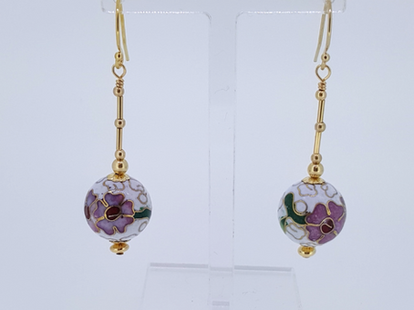 Cloisonné & Murano Vintage Earrings