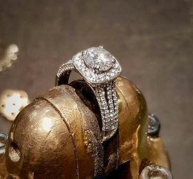 Halo tri band diamond engagement ring