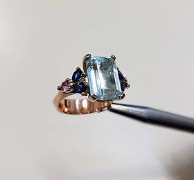 Aquamarine and sapphire dress ring