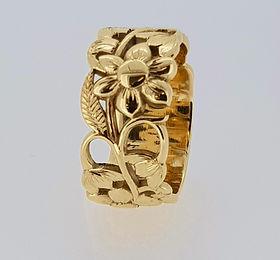 gold flower dress ring
