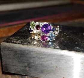 mixed gemstone dress ring