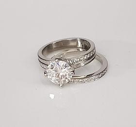 Diamond Solitaire and wedding band set