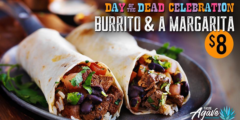 Burrito and a Margarita for $8