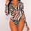 Thumbnail: Black, Tan, and White Zebra Print  Body Suit