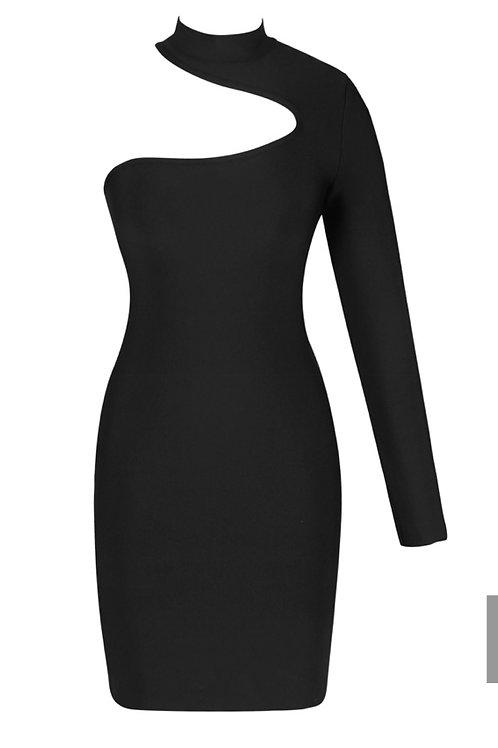 One Sleeve Black Bandage Dress