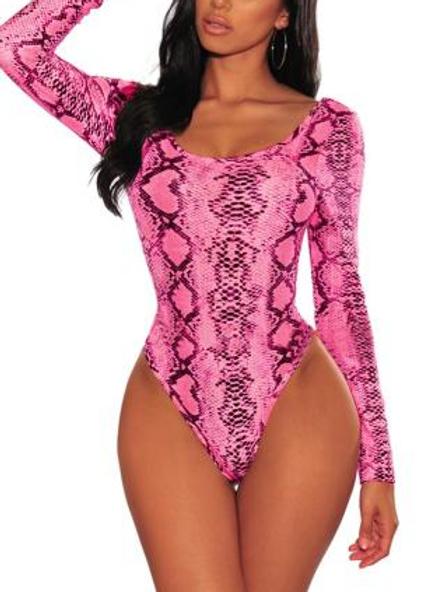 Pink Snake Print Body Suit