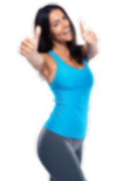 Lady with thumbs up in blue keep fit gear