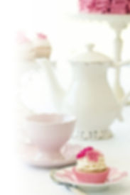 White teapot & Pink cup with a cupcake