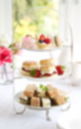 Traditional Cake & Tea image on a white tablecloth