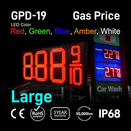 "Gas Price Display 19"" High Digit Number Red Green"