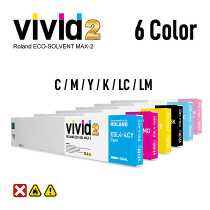 6 x 440ml Roland Eco Solvent MAX-2 Compatible Ink Cartridges