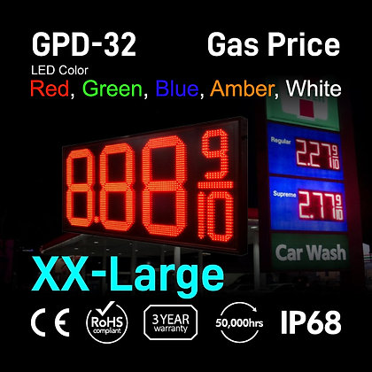 "Gas Price Display 32"" High Digit Number Red Green"