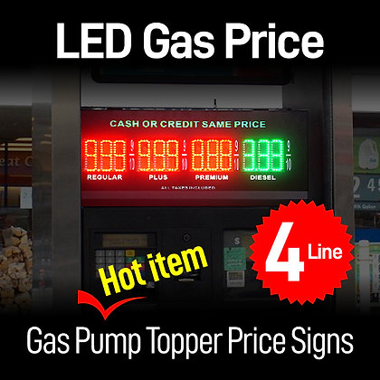LED Price Signs for Pump Gas Station 4 Line (both side)