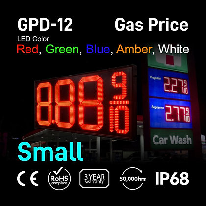 "Gas Price Display 12"" High Digit Number Red Green"