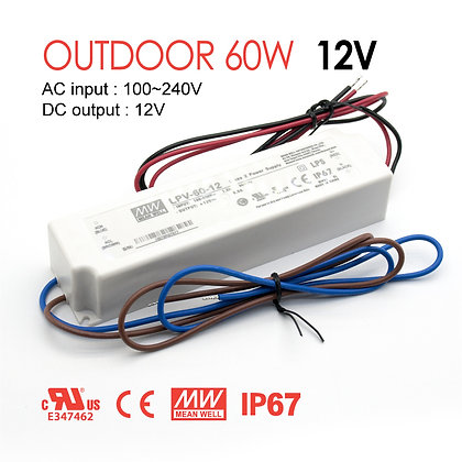 Mean Well Outdoor LED Driver LPV 60W 12V UL