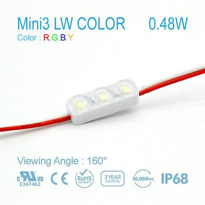 NC LED MINI3 RED GREEN BLUE YELLOW 3LAMPS IP68 0.48W 12V