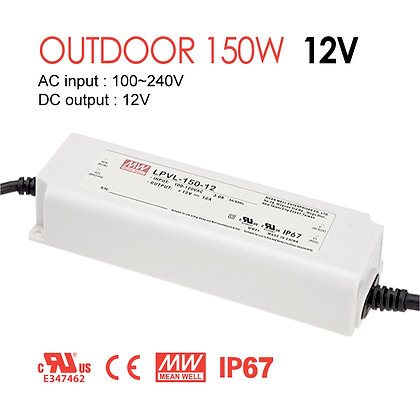 MeanWell Outdoor LED Driver 150W 12V 24V IP67 UL