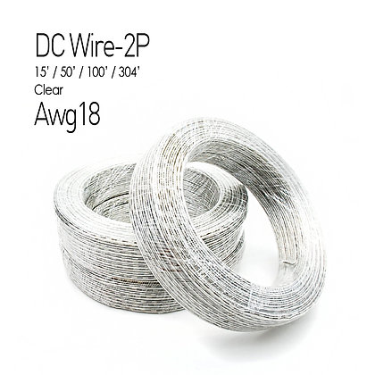 NC LED DC Wire 2P Clear 22Awg 15Ft 50Ft 100Ft 304Ft