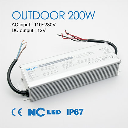 NC LED Power Supply Outdoor 200W 12V IP67