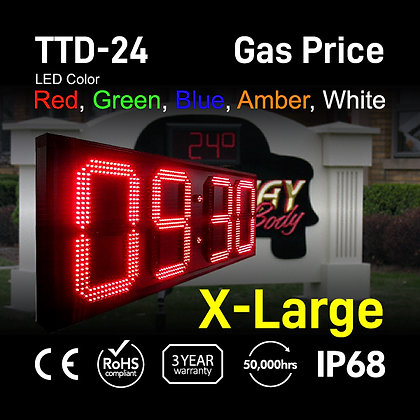 """24"""" High Outdoor LED TIME Temp Sign Digit LED electronic clock"""