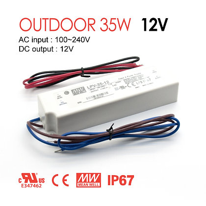 MeanWell Outdoor LED Driver LPV 35W 12V 24MeanWell Outdoor LED Driver LPV 35W 12V 24V IP67 ULV IP67 UL