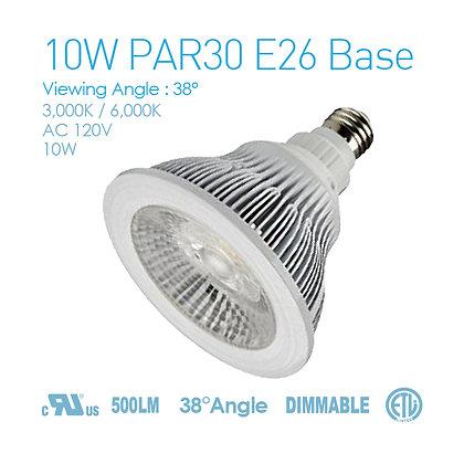 10W Par30 E26 Base Dimmable AC120V