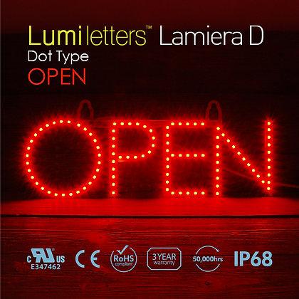 "Lumi Letters Lamiera Dot Type ""Open"""