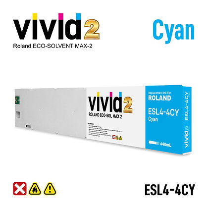440ml Roland Eco Solvent MAX-2 Compatible Ink Cartridges Cyan