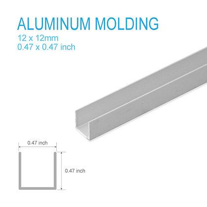 """Aluminum U-molding 0.47"""" x 0.47"""" x 5ft"""