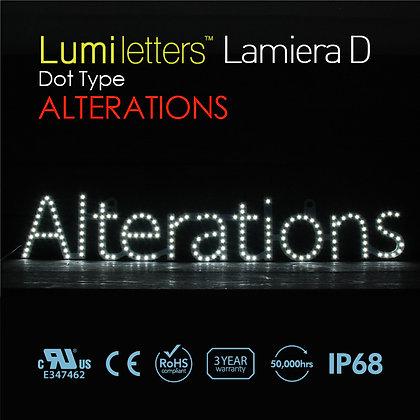 "Lumi Letters Lamiera Dot Type ""Alterations"""