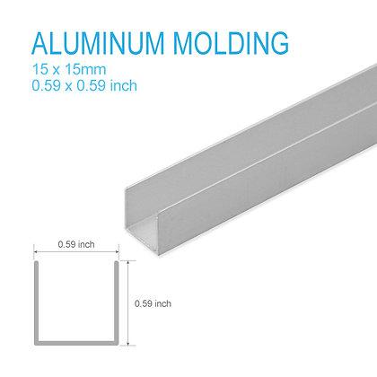 """Aluminum U-molding 0.59"""" x 0.59"""" x 5ft"""