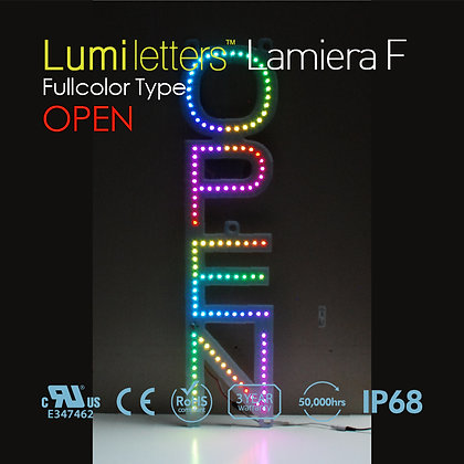 "Lumi Letters Lamiera Full Color Type ""Open"""