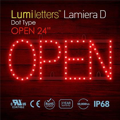 "Lumi Letters Lamiera OPEN 24"" dot type"