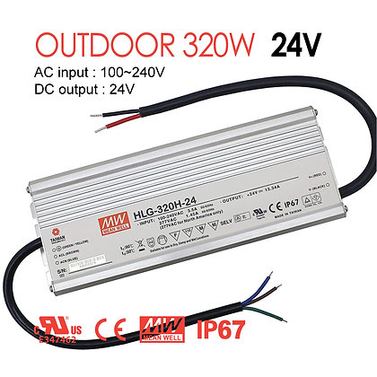 MeanWell Outdoor LED Driver 320W AC INPUT 100-240V DC 24V IP67