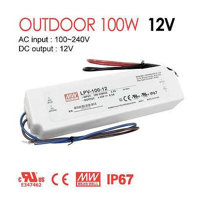 Mean Well Outdoor LED Power Driver 100W 12V IP67