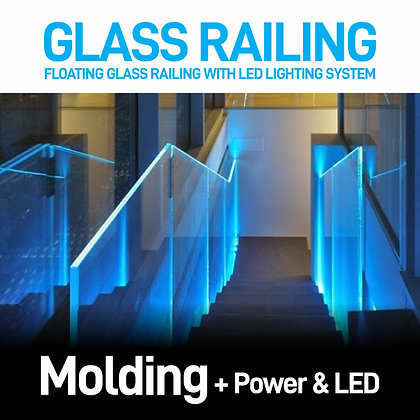 Floating Glass Railing with Led Lighting System