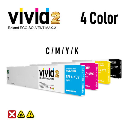 4 x 440ml Roland Eco Solvent MAX-2 Compatible Ink Cartridges
