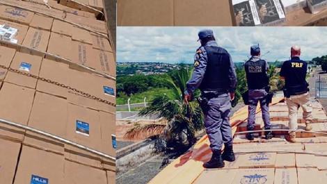 Carga de R$ 1 milhão de cigarros vindo do Paraguai é apreendida pela PM e PRF em MT