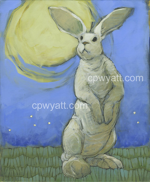 White Rabbit Under a Yellow Moon