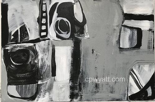 ARRANGEMENT IN BLACK WHITE AND GREY